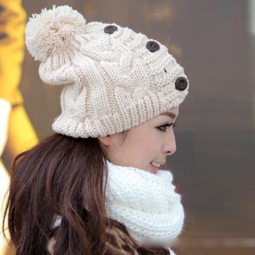 1ba24ed7ab7 Fuzzy Ball Buttons Knitted Hemp Flowers Hat For Women – ZeNa s Haute ...