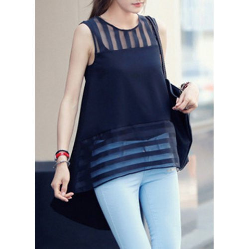 Stylish Scoop Neck Striped Organza Splicing Blouse For Women