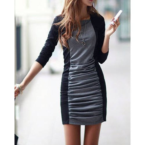 Casual Square Neck Long Sleeves Color Splicing Pleated Dress For Women