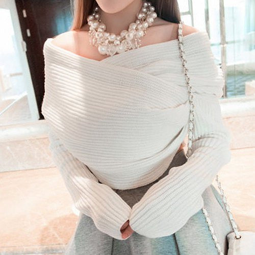 Stylish Long Sleeves Solid Color Asymmetric Sweater For Women