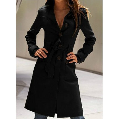 Stylish Flat Collar Long Sleeve Solid Color Coat For Women
