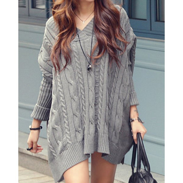 Simple V-Neck Long Sleeve Solid Color Loose-Fitting Knitted Women's Dress