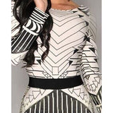 Sexy Scoop Neck Long Sleeve Geometric Bodycon Backless Dress