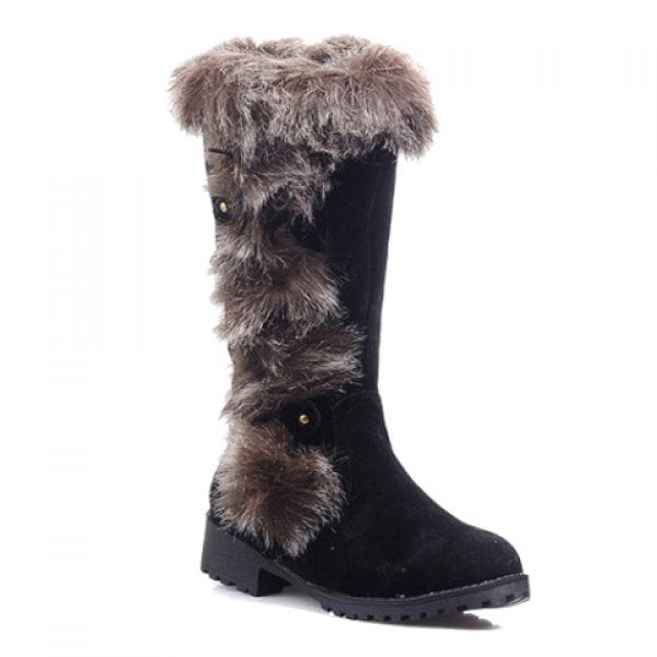 Preppy Suede and Imitation Fur Design Women's Snow Boots