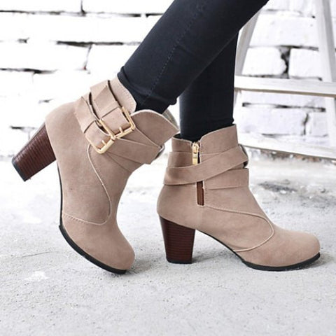 Vintage Weaving and Buckle Design Boots For Women