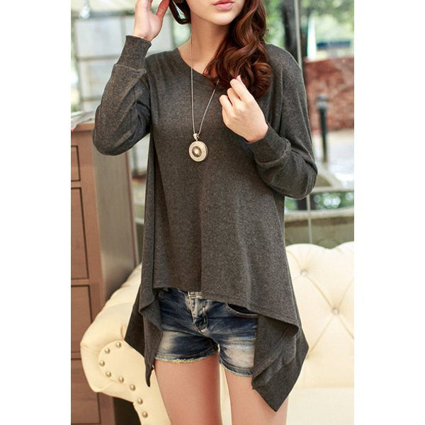 Casual Round Collar Long Sleeve Solid Color Asymmetrical Women's T-Shirt