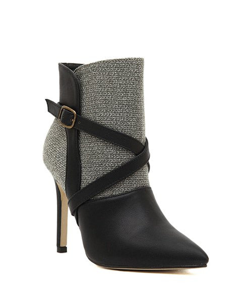 Gorgeous Splice and Buckle Design Women's Ankle Boots