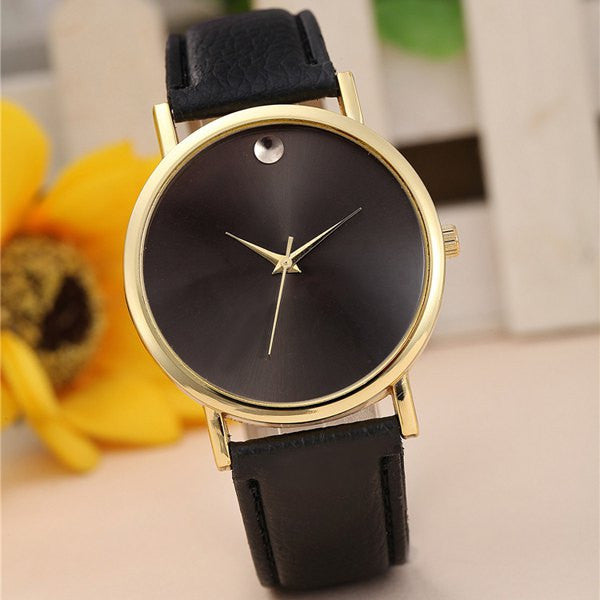 Geneva Female Quartz Watch Round Dial Leather Watchband