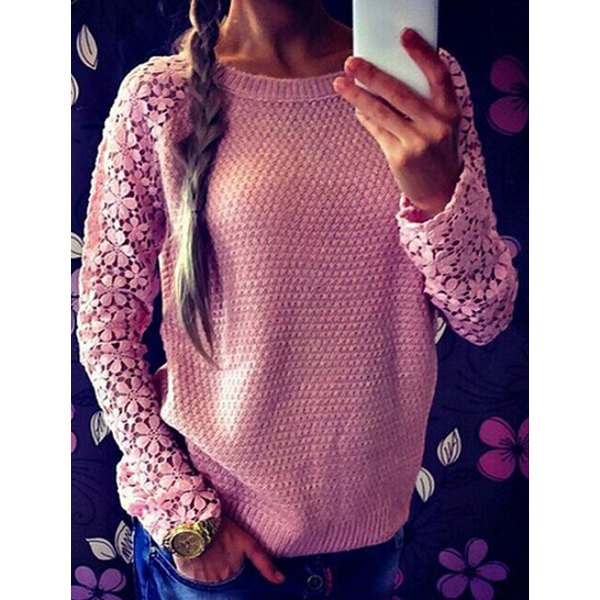 Cute Round Neck Long Sleeve Spliced Hollow Out Women's Sweater -