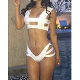 Sexy Square Neck Solid Color Bikini Set For Women