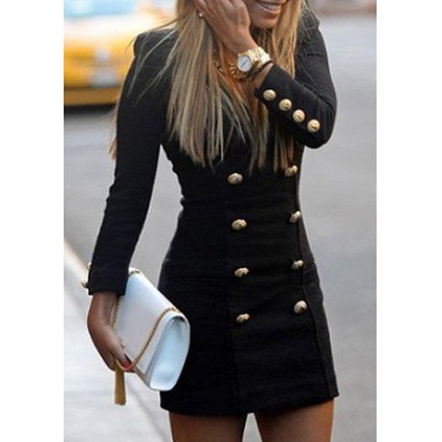 Fashionable V-Neck Solid Color Double-Breasted Long Sleeve Women's Dress