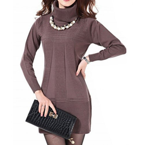Stylish Turtleneck Solid Color Long Sleeve Knitted Dress For Women