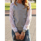 Sweet Round Neck Lace Splicing Long Sleeve Sweatshirt