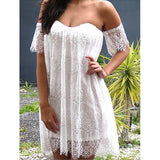 Sexy Off-The-Shoulder Short Sleeve Solid Color Lace Women's Dress