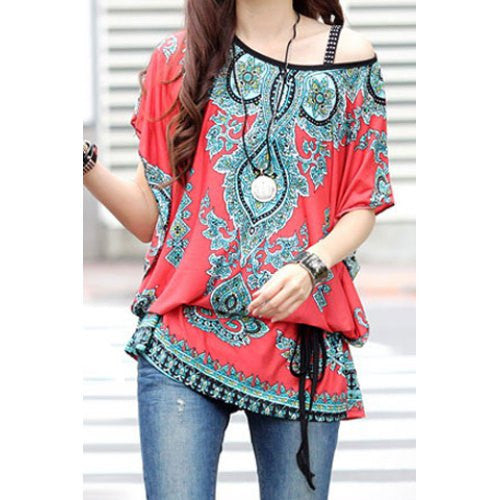 Ethnic Style Scoop Neck Print Color Block Short Sleeve T-Shirt