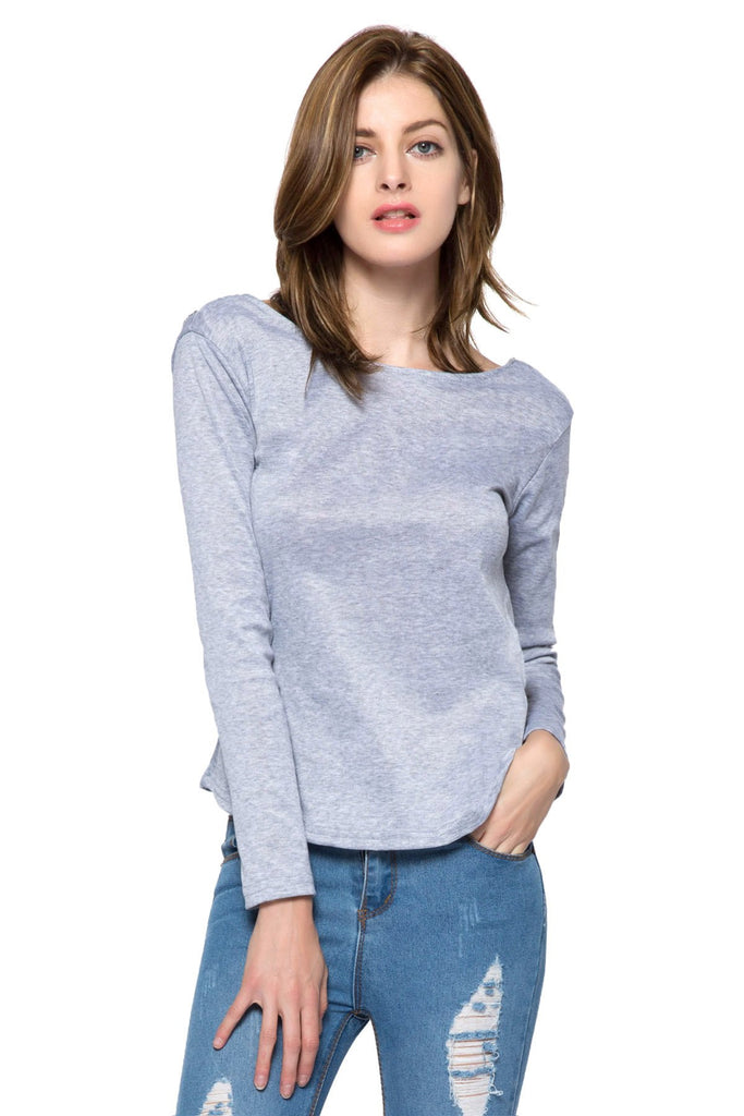 Sexy Round Collar Long Sleeve Spliced Backless Women's T-Shirt