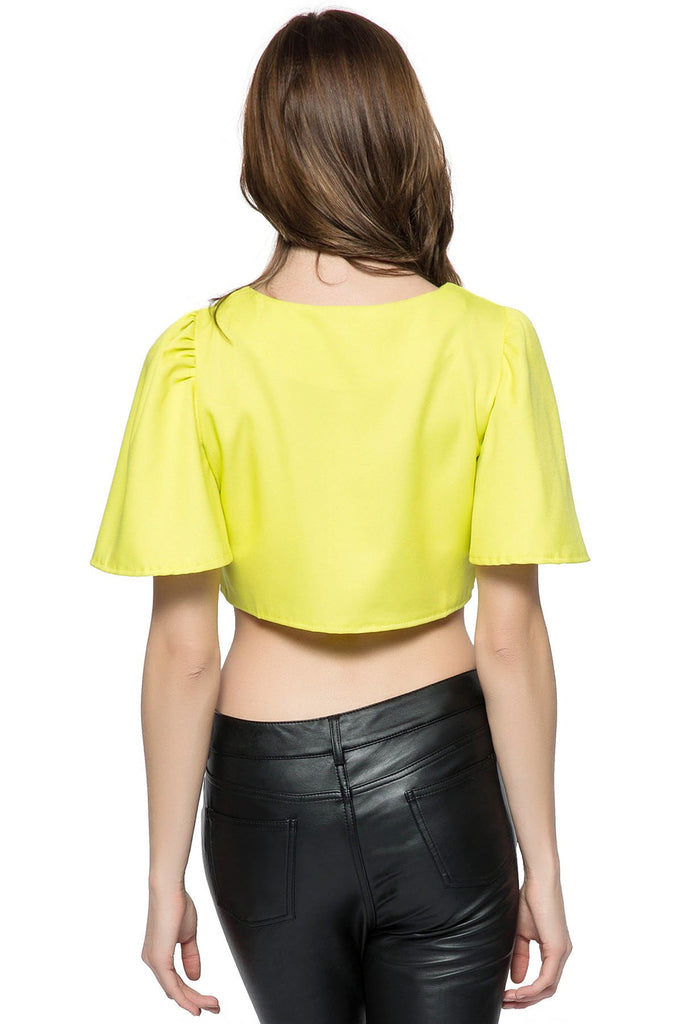 Chic Style Round Collar Ruffled Solid Color Flare Sleeve Women's Crop Top