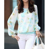 Women's Floral Print Pattern Chiffon Casual Puff Long Sleeve Tops Blouses Shirt