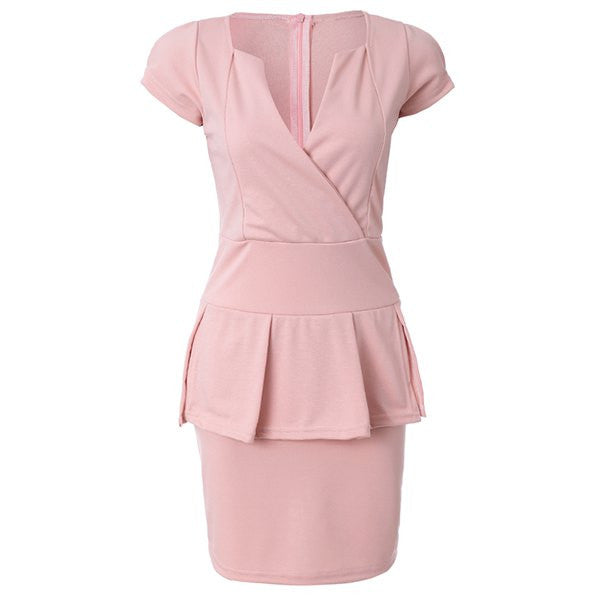 Sexy Solid Color Flounce Splice Short Sleeve Over Hip Women's Trendy Club Dress