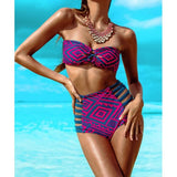 Sexy Strapless Sleeveless Spliced Hollow Out Women's Bikini Set