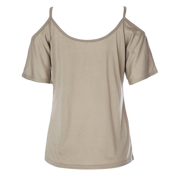 Simple Scoop Neck Short Sleeve Off-The-Shoulder Solid Color Women's T-Shirt