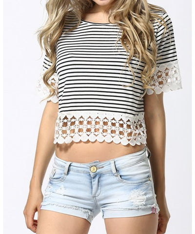 Off The Shoulder Lace Insert Ruffle Blouse