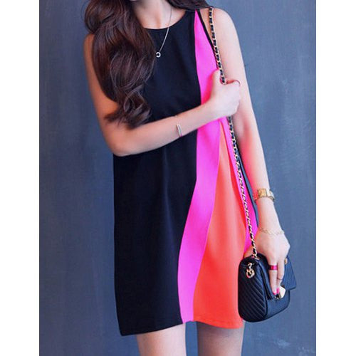 Fashionable Round Collar Color Block Sleeveless Chiffon Dress For Women