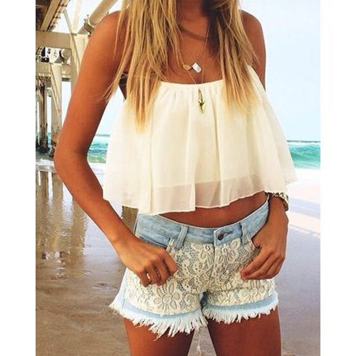 Stylish Halter Ruffled Chiffon Crop Top For Women