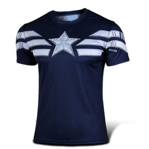 Fashion Round Neck Slimming Color Block Captain America Design Short Sleeve Polyeste