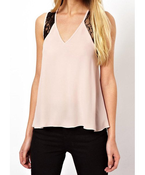 Stylish Plunging Neck Sleeveless Hollow Out Criss-Cross Women's Tank Top