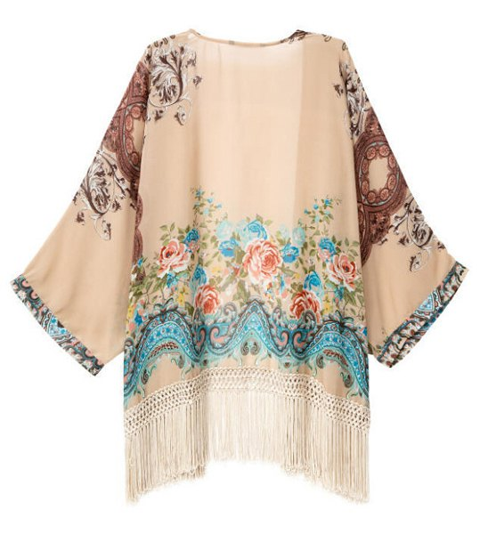 Stylish Collarless Floral Print Tassel Embellished Batwing Sleeve Blouse For Women - One Size(fit Size Xs To M)
