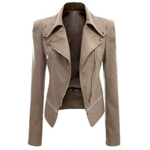 Fashionable Turn-Down Collar Zippered Long Sleeve PU Leather Jacket