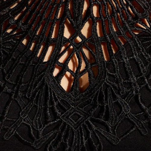 Sexy Round Collar Cut Out Black Lace Spliced Blouse For Women