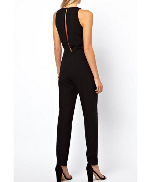 Stylish Round Collar Solid Color Cut Out Sleeveless Jumpsuit For Women