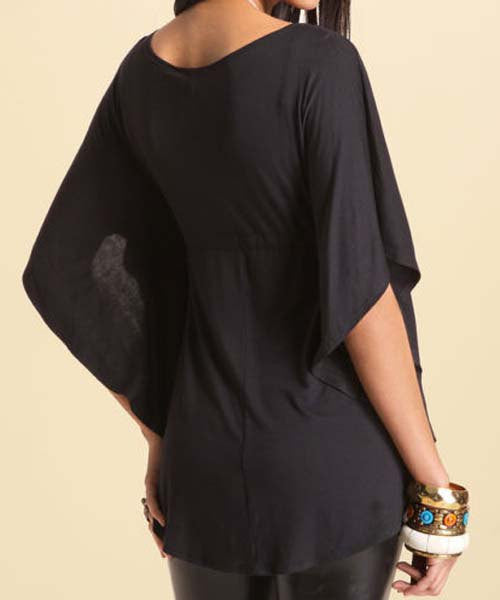 Stylish Plunging Neckline Dolman Sleeve Loose-Fitting Blouse For Women