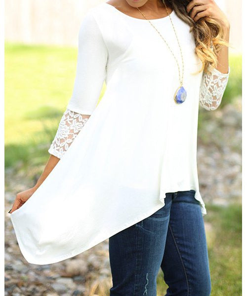 Charming Round Collar Lace Irregular Hem Long Sleeve Women's White Blouse