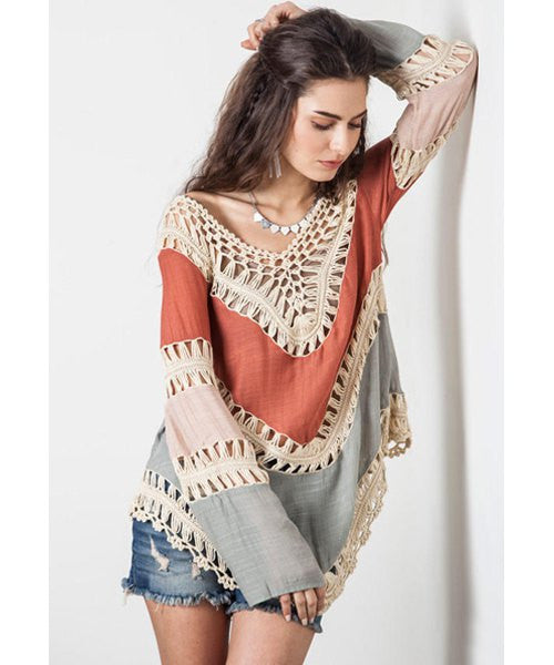 Trendy V-Neck Long Sleeve Color Block Hollow Out Women's Knitwear