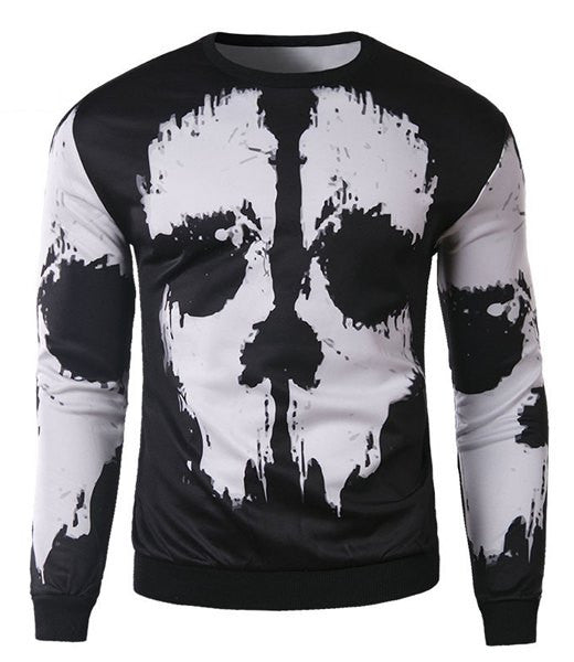 Trendy Round Neck 3D Abstract Print Slimming Long Sleeve Cotton Blend Sweatshirt