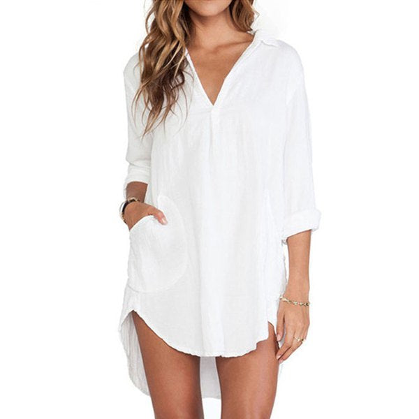 Stylish V-Neck Long Sleeve Pocket Design Irregular Hem Women's White Shirt Dress - White M