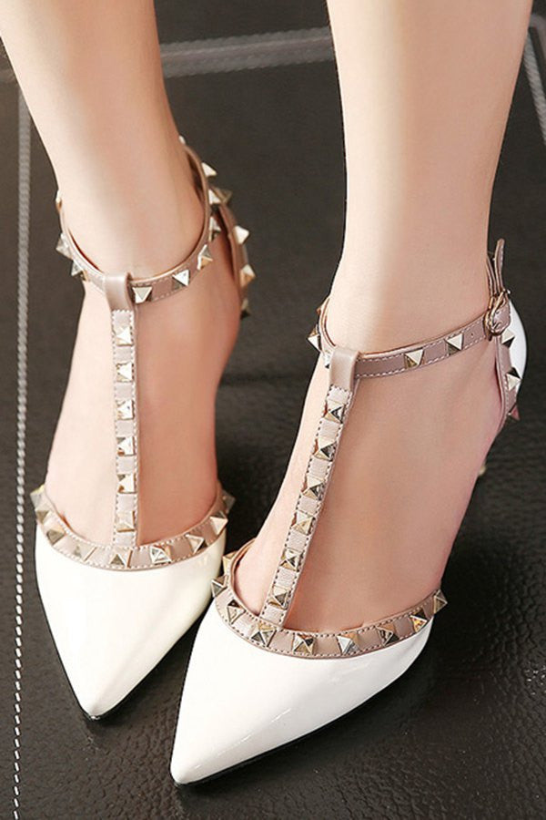 Charming T-Strap and Rivets Design Women's Pumps