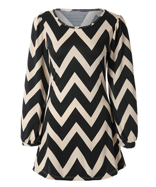 Fashionable Color Block Zigzag Printed Dress