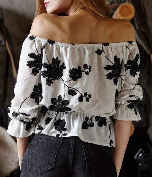 Fresh Style Off-The-Shoulder Black Floral Printed Short Blouse For Women