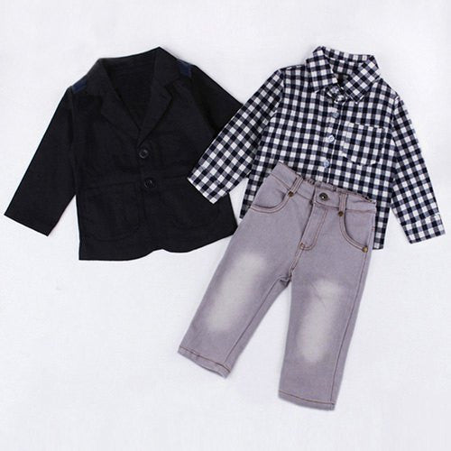 Fashionable Long Sleeve Checked Shirt + Black Coat + Solid Color Jeans Three Piece Suit For Boy