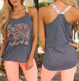 Stylish Scoop Collar Sleeveless Elephant Print Women's Tank Top