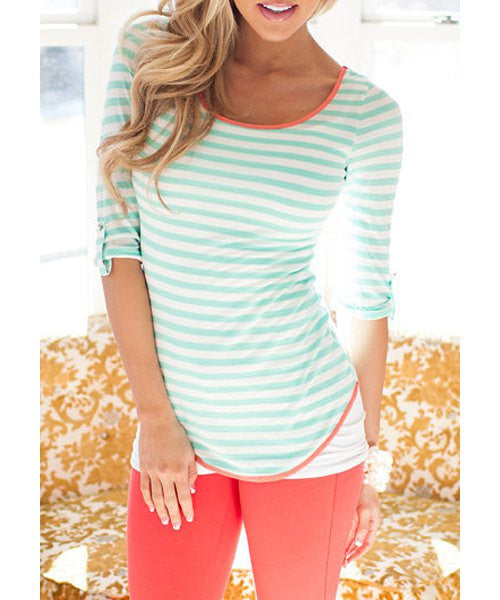 Stylish Scoop Collar Half Sleeve Striped Bowknot Design Women's T-Shirt