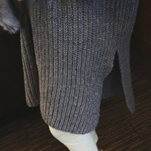 Crew Neck Long Slit Shift Sweater Dress