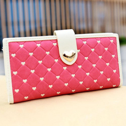 Sweet Checked and Hearts Design Women's Wallet