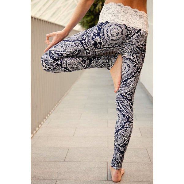 Vintage Abstract Printed Lace Spliced High Waist Leggings For Women