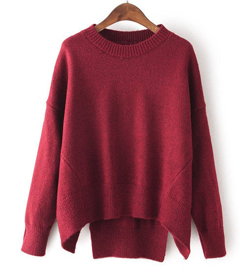 Stylish Round Neck Candy Color Long Sleeve Sweater