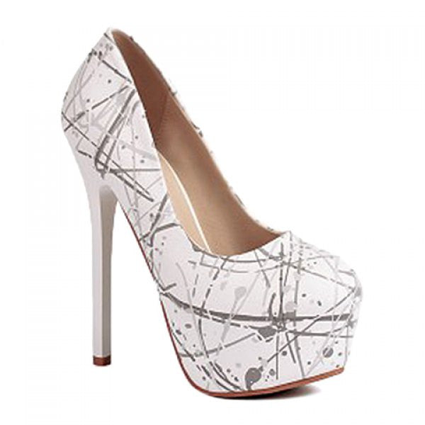 Elegant Scrawl and Sexy High Heel Design Women's Pumps